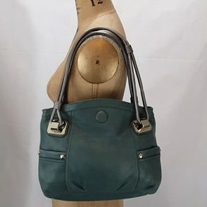 B Makowsky Green Leather Handbag